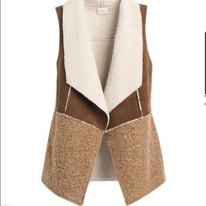 Chico's Faux Suede Shearling Lining Open Vest M